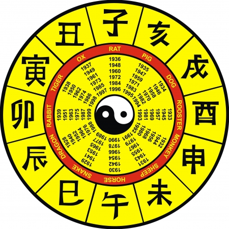 trigram: yellow chinese zodiac on the white background Illustration