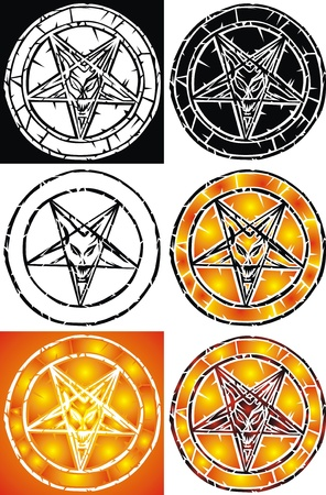 satanism: pentagram - sign of the hell in different colors