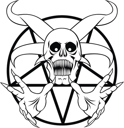 pentacle: pentagram - sign of the hell in the black and white