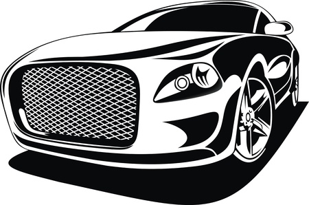 My original sport car design in black and white  Vector