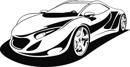 white car: Il mio disegno originale auto sportive in bianco e nero Vettoriali
