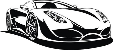 Ma conception de la voiture de sport originale en noir et blanc Vecteurs