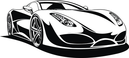 My original sport car design in black and white  Stock Vector - 19565694