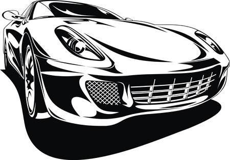 My original sport car design in black and white