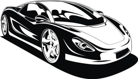 exotic car: My original sport car design in black and white