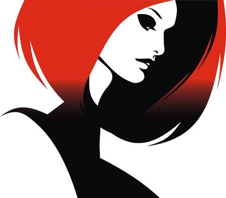 stilist: kadın kafası ve beyaz zemin üzerine izole kendi saç stilisti vektör
