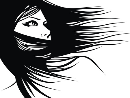 woman head and their hair  hair stylist vector  isolated on the white background