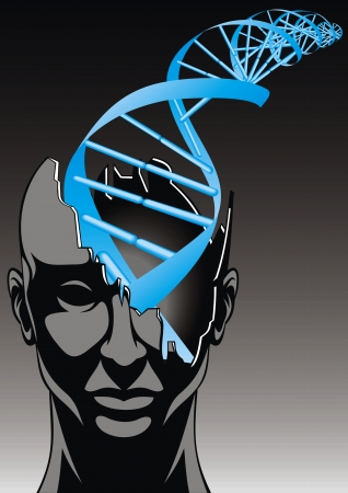 digitally generated image: man and DNA spiral - future of biology technologies  abstract design