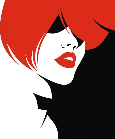 sexy lips: woman head and their hair  hair stylist vector  isolated on the white background