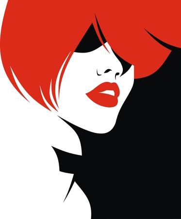 retro hair: woman head and their hair  hair stylist vector  isolated on the white background