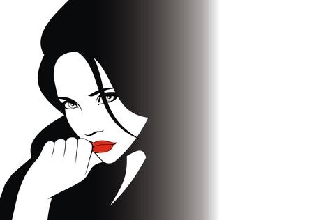nice hair: woman head and their hair  hair stylist vector  isolated on the white background