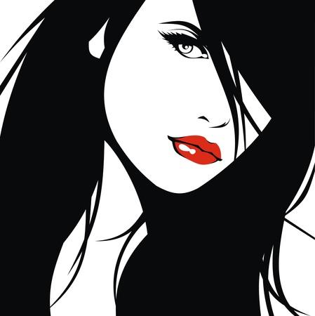 labios rojos: pista de la mujer y de su pelo estilista vectorial aislados en el fondo blanco