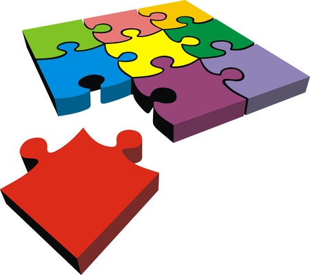 owning: color puzzle  idea  isolated on the white background Illustration
