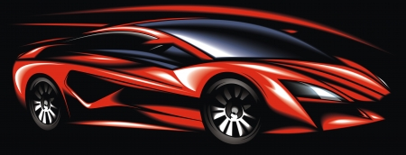 new red sport car design made be me isolated on black background Vector
