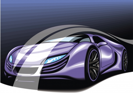 exotic car: new car design made be me isolated on blue background