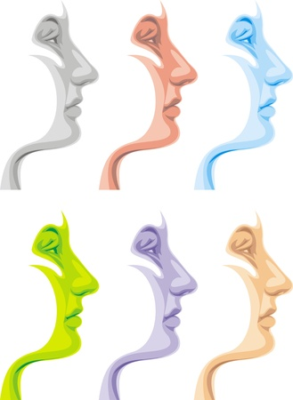 young face in different colors  isolated on white background Stock Vector - 19565790