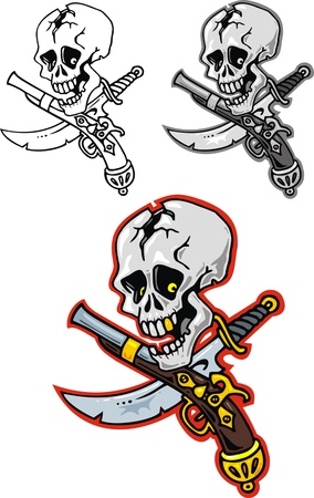 illustrated pirate skull isolated on white background Stock Vector - 19565835
