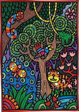 mooie achtergrond: boom uit mijn fantasie zo mooi achtergrond Stock Illustratie
