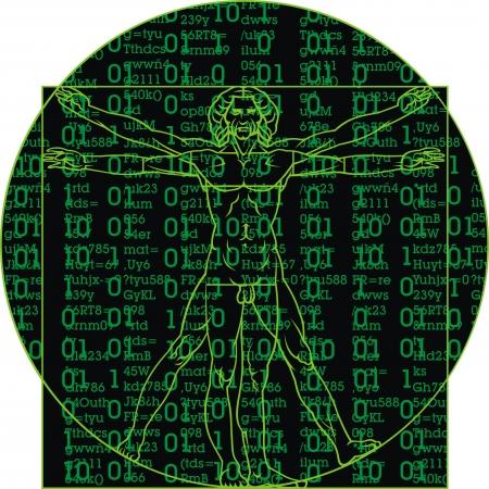 leonardo da vinci: Leonardo da Vinci man as a matrix background Illustration
