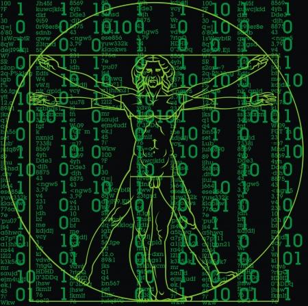 Leonardo da Vinci man as a matrix background Vector