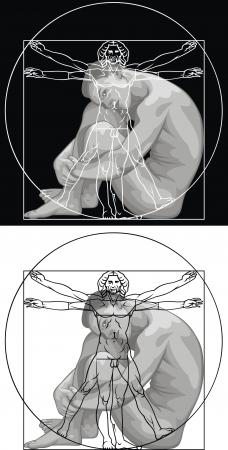 Leonardo da Vinci man in two versions Vector