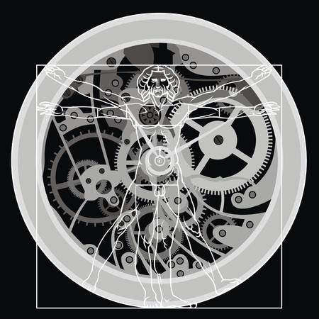 leonardo da vinci: nice time symbols on the black background