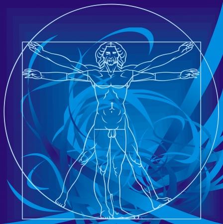 Leonardo da Vinci man on the blue background Vector