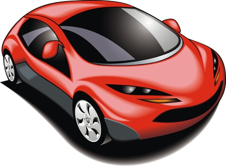roadster: my original sport car  my design  in red color isolated on the white background Illustration