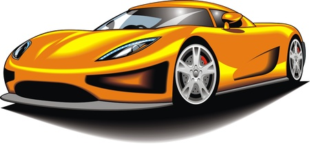 my original sport car  my design  in yellow color isolated on the white background