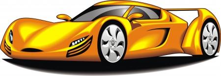 convertible car: mi coche deportivo original de mi dise�o en color amarillo aislado en el fondo blanco