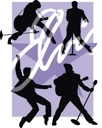 rockstar: rockstar illustratie op de blauwe ster achtergrond Stock Illustratie