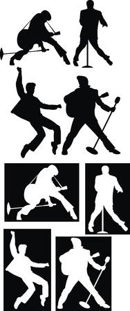 elvis presley: rockstar illustration on the black and white background Illustration