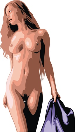 ni�a desnuda: chica desnuda aislado en el fondo blanco