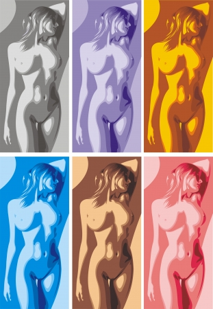 naked girl in different colors as nice woman background Stock Vector - 19912796
