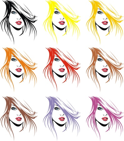 black hair blue eyes: girls face and hair in different colors as fashion background