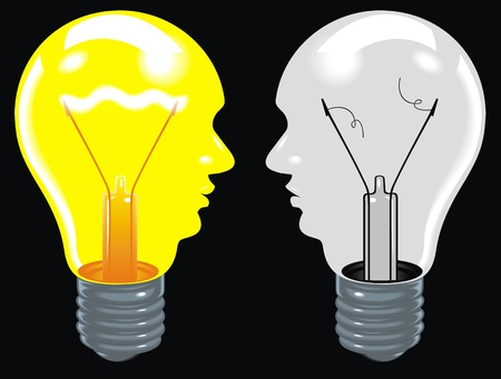 light bulbs as human heads  ideas in brain  Stock Vector - 19912790
