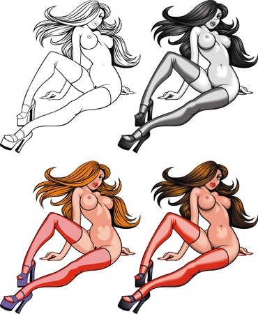 naked woman: sexy naked girl isolated on the white backlground Illustration