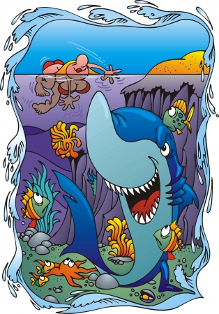 shar in the water very nice joke Stock Vector - 19912807