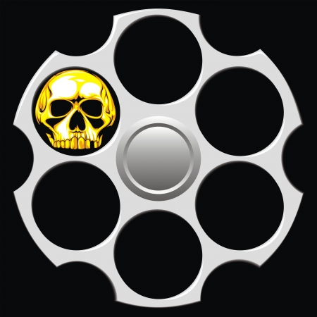 gun shell: cilindro de rev�lver agradable en el fondo negro