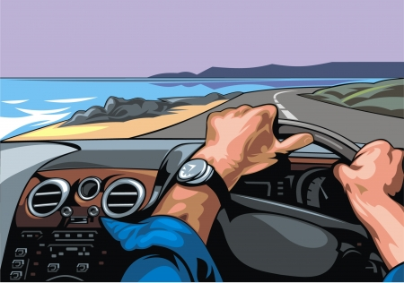 Illustrated nice racing driver with a view of the sea
