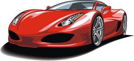 흰색 배경에 고립 된 아름 다운 빨간 차 일러스트