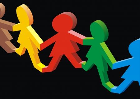 cultura: buena sociedad multicultural en el fondo negro