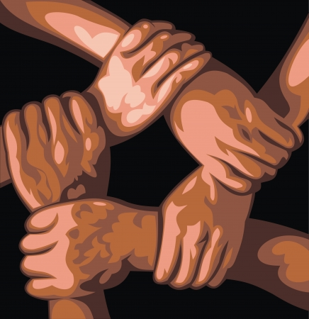 teamwork for  five hands on the black background Vector