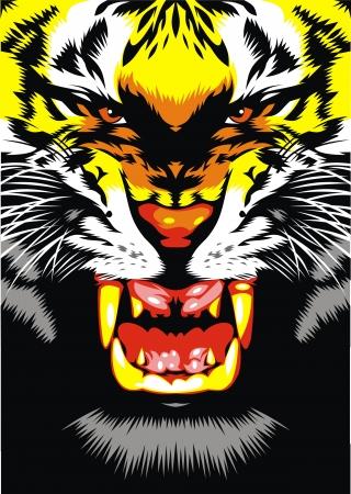 geïllustreerde tijger hoofd op de zwarte achtergrond