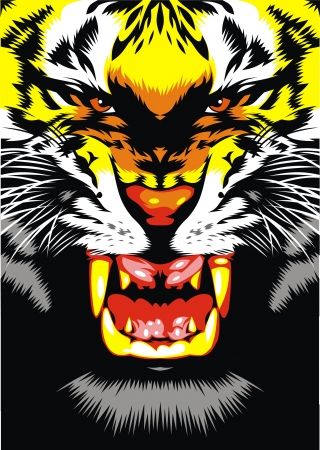 ferocious: illustrated tiger head on the black background