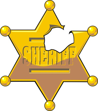 deputy: damaged sheriff star isolated on white background