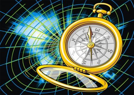 mooie achtergrond: wereld kaart en kompas als mooie achtergrond Stock Illustratie