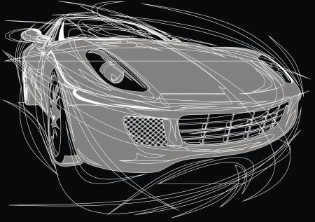 exotic car: my original car design on the black background Illustration