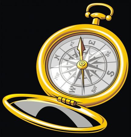 nice old compass on the black background  Vector
