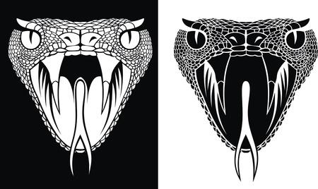 serpiente caricatura: bonita cabeza de serpiente en dos versiones como fondo Vectores